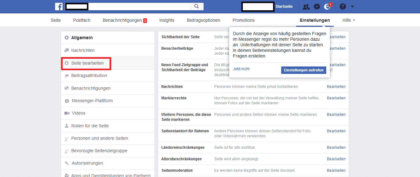 Facebook Bewertungen aktivieren